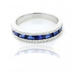 18ct White Gold Baguette Cut Sapphire And Brilliant Cut Diamond Eternity Ring