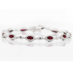 18ct White Gold Marquise Cut Ruby With Diamond Surround Bracelet