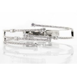 18ct White Gold Crossover Diamond Strand Bangle 2.07ct