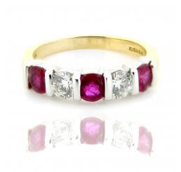 18ct Yellow And White Gold Bar Set Ruby And Diamond Eternity Ring