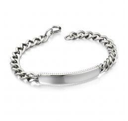Fred Bennett Steel Corrugated Edge ID Bracelet B4565