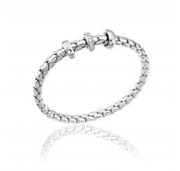 Chimento 18ct Yellow Gold Diamond Set Stretch Spring Bracelet