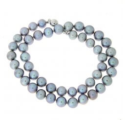 9ct White Gold Grey Freshwater Cultured Pearl Strand Necklace