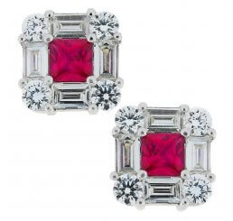 18ct White Gold Ruby, Baguette And Brilliant Cut Diamond Set Stud 0.96ct