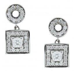 18ct White Gold Polo Square Grain Set Diamond Drop Earrings