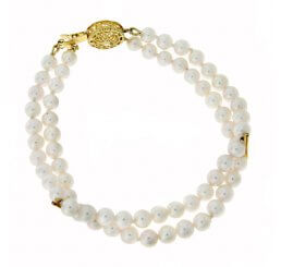 9ct Yellow Gold Akoya Cultured Pearl 2 Row Bracelet
