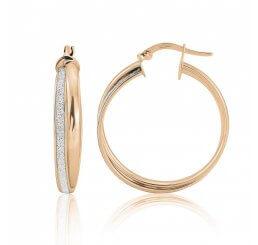 Mark Milton 9ct Rose Gold Glitter Oval Hoop Earrings 8H86R