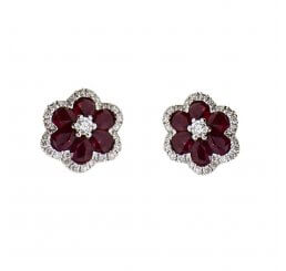 18ct White Gold Ruby and Diamond Stud 1.33ct