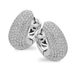 18ct White Gold Diamond Pave Set Hoop Earrings