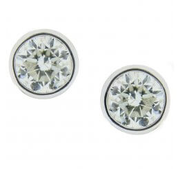 18ct White Gold Brilliant Cut Rub Set Diamond Solitaire Earrings 1.20ct
