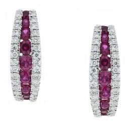 18ct White Gold Graduating Ruby And Diamond Set Hoop Earrings 0.34ct