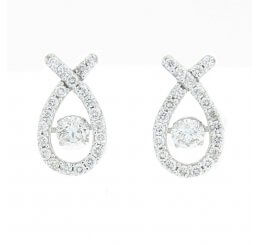 18ct White Gold Diamond Set Cross Over With Centre Pivoting Diamond Drop Earrings 0.96ct