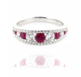 18ct White Gold Brilliant Cut Ruby And Diamond Eternity Ring
