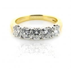 18ct Yellow And White Gold Brilliant Cut 5 Stone Diamond Ring 1.87ct