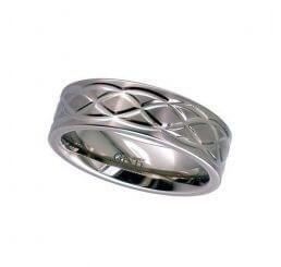 Geti Gents 7mm  Flat Profile Titanium Ring With Celtic Knot Design T018