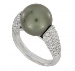 18ct White Gold Tahitian Pearl and Diamond Ring