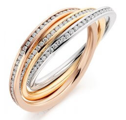 18ct Yellow, White And Rose Gold Interlocking Diamond Full Set Eternity Ring FET2187 1.00ct