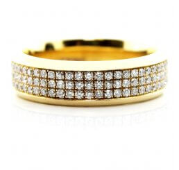 18ct Yellow Gold 3 Row Brilliant Cut Channel Set Triple Row Diamond Ring Total 0.73ct