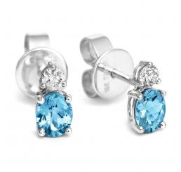 Tivon 18ct White Gold Oval Aquamarine And Brilliant Cut Diamond Stud Earrings