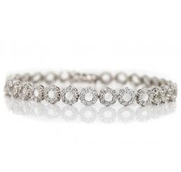 18ct White Gold Round Link Diamond Set Bracelet 3.20ct