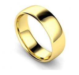 Gents 18ct Yellow Gold Medium Weight Slight Court Wedding Band  WBM7mm