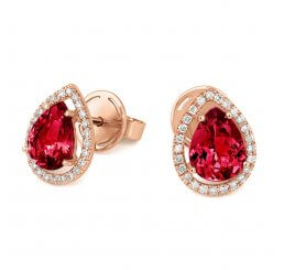 Tivon 18ct Rose Gold Pear Cut Pink Tourmaline And Brilliant Cut Diamond Stud Earrings