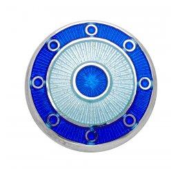 Deakin and Francis Silver Blue Target Enamel Chain Cufflinks