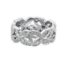 Ungar & Ungar 18ct White Gold Diamond Set Wide Floral Band 8mm 0.82ct