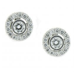 18ct White Gold Brilliant Cut Diamond Cluster Earrings