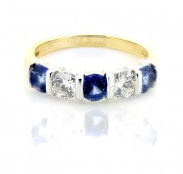 Sapphire And Diamond Bar Set Eternity Ring 18ct Yellow And White Gold
