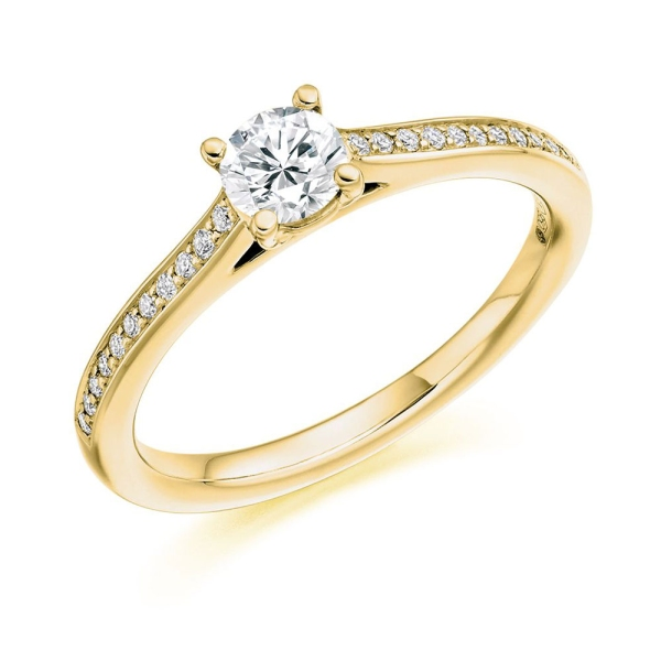 18ct Yellow gold Certificated Diamond with Diamond Shoulders Ring Total .45ct