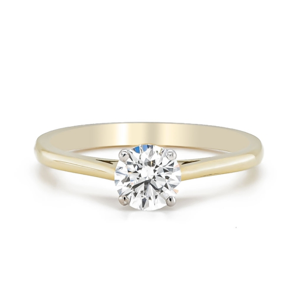 18ct Yellow and White Gold Certificated D Colour Diamond Ring .72cts
