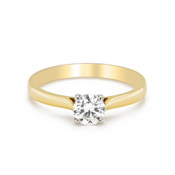 18ct Yellow Gold and Platinum D Colour Diamond Ring .50ct