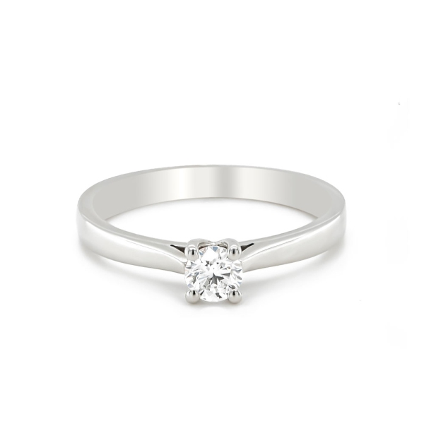Platinum Round D colour Engagement Ring .30ct