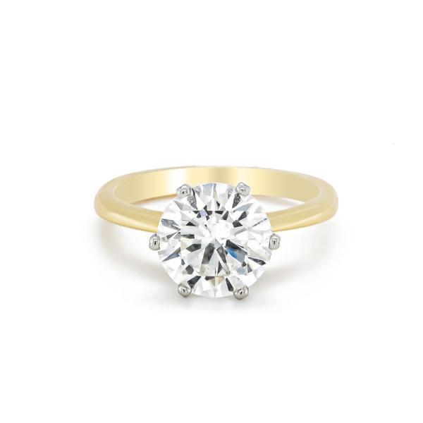 18ct Yellow Gold and Platinum Brilliant Cut Diamond Ring 2.82ct