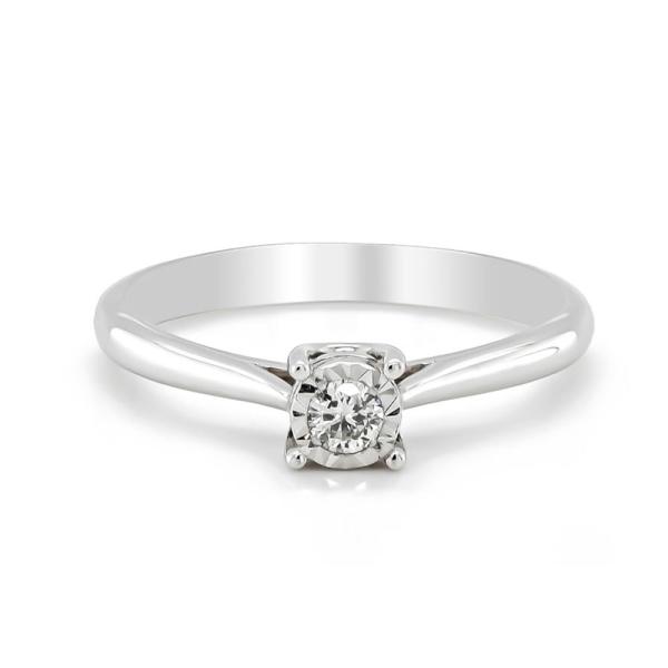 9ct White Gold Diamond Illusion Claw Set Ring .10cts