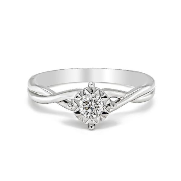 9ct White Gold Diamond Illusion Set Twisted Ring .25cts