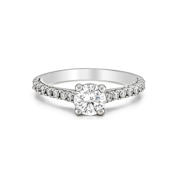 Platinum and Diamond Engagement Ring with Diamond Set Shoulders .45ct