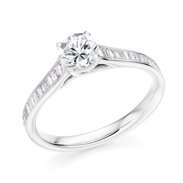 Platinum Brilliant Cut Ring with Tapered Baguette Shoulders .98ct