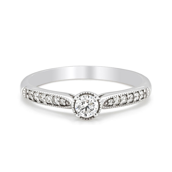 9ct White Gold Round Diamond Beaded Edge with Tapered Diamond Shoulders .31cts