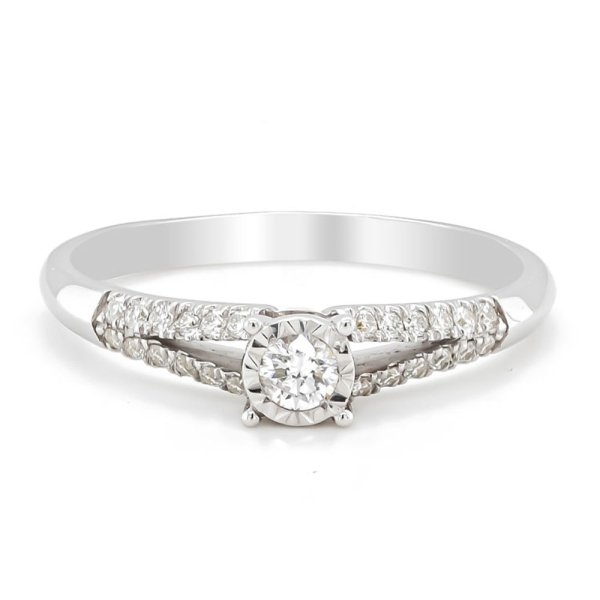 9ct White Gold Diamond Illusion Ring with Split Diamond Shoulders .24cts