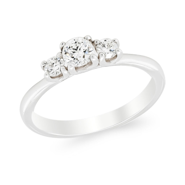 18ct White Gold 3 Brilliant Cut Diamond Ring 0.34