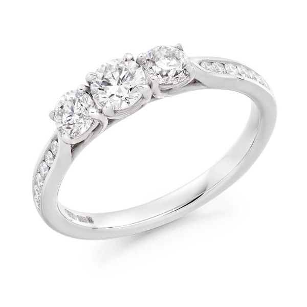 Platinum Trilogy Ring with Diamond Set Shoulders .68ct