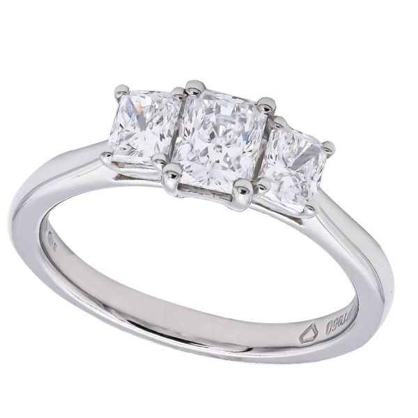 Platinum Three Stone Radiant Diamond Ring 1.07ct