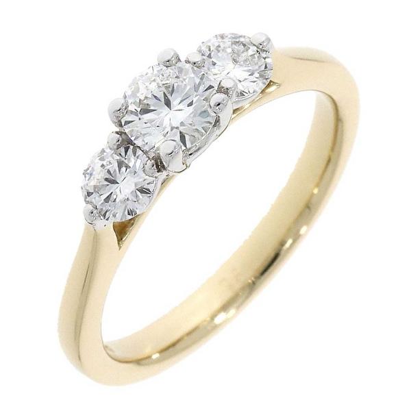18ct Yellow and White Three Stone Claw Set Ring .73ct