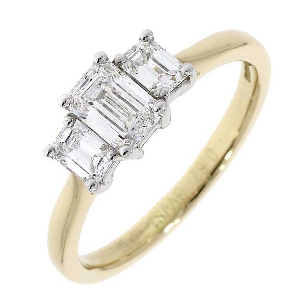 18ct Yellow and White Three Stone Emerald Cut Ring .96ct