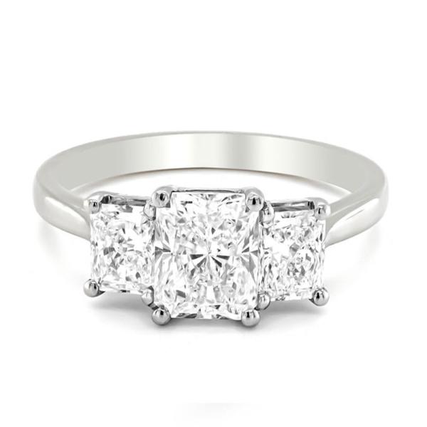 Platinum Three Stone Radiant Cut Diamond Ring