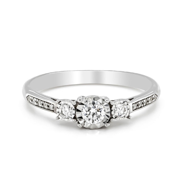 9ct White Gold Three Stone Diamond Illusion Ring with Diamond Shoulders .27cts