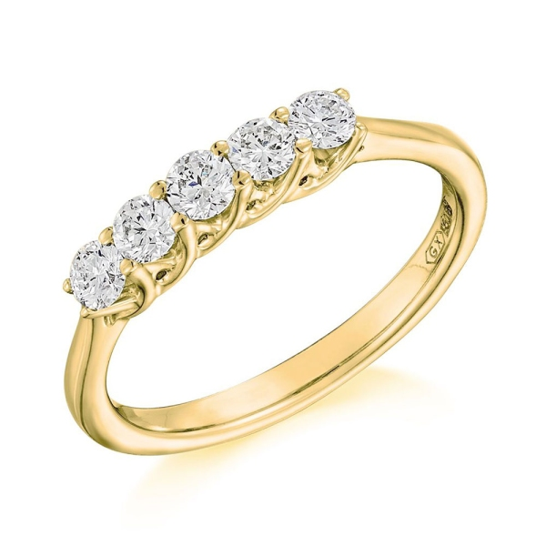 18ct Yellow And White Five Stone Diamond Claw Set Ring .50cts