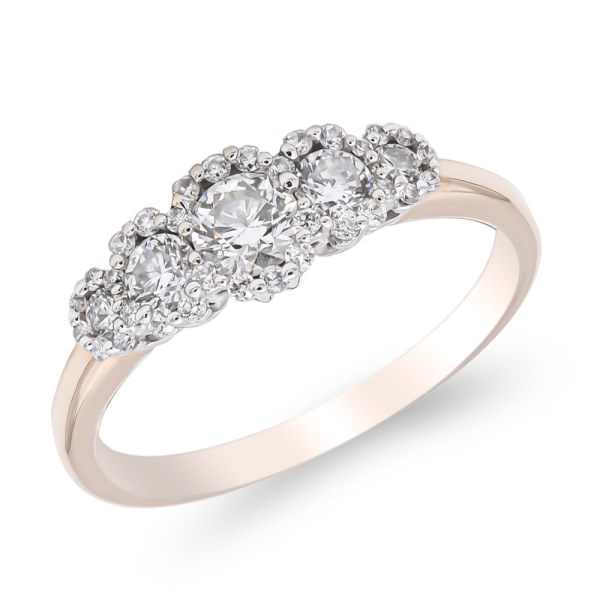 18ct Rose Gold Multi Cluster Diamond Ring .92cts